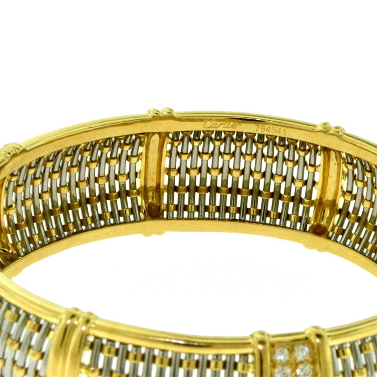 Cartier Yellow Gold and Steel Basket Weave Bangle with Diamonds For Sale 2