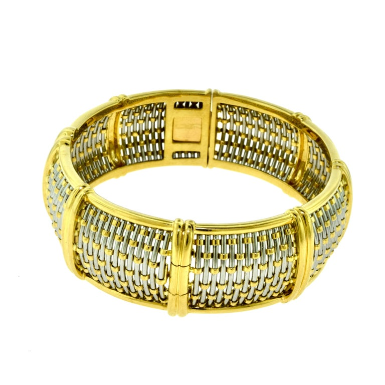Women's or Men's Cartier Yellow Gold and Steel Basket Weave Bangle with Diamonds For Sale