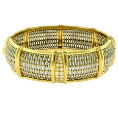 Cartier Yellow Gold and Steel Basket Weave Bangle with Diamonds