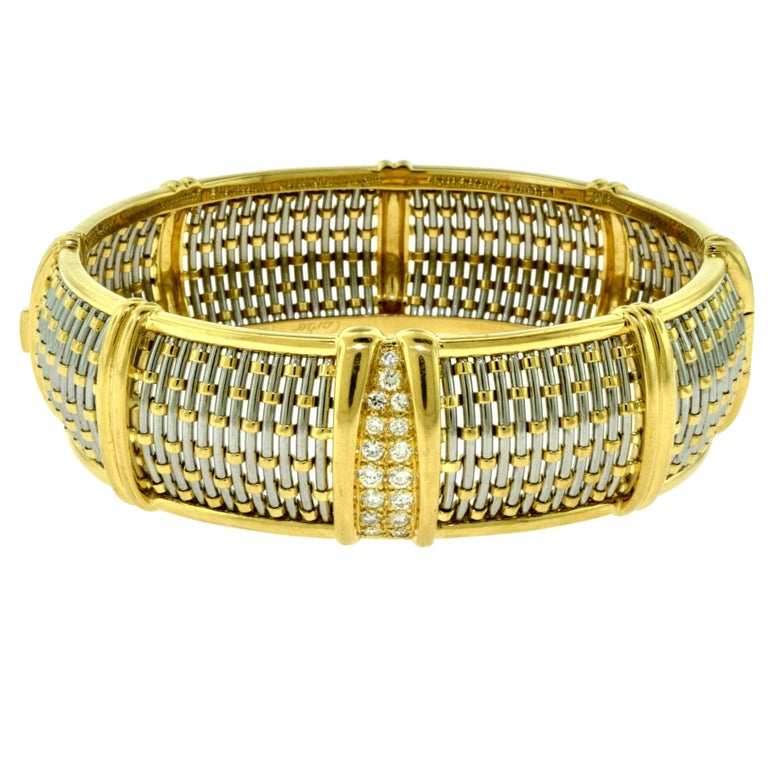 How To Basket Weave Bracelet : Cartier yellow gold and steel basket weave bangle with