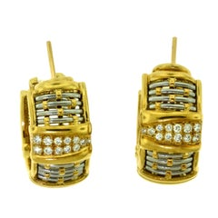 Cartier Yellow Gold and Steel Basket Weave Clip on Earrings with Diamonds