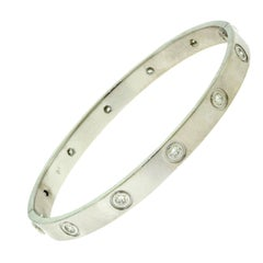 Cartier Love Bracelet in 18 Karat White Gold 10 Diamonds