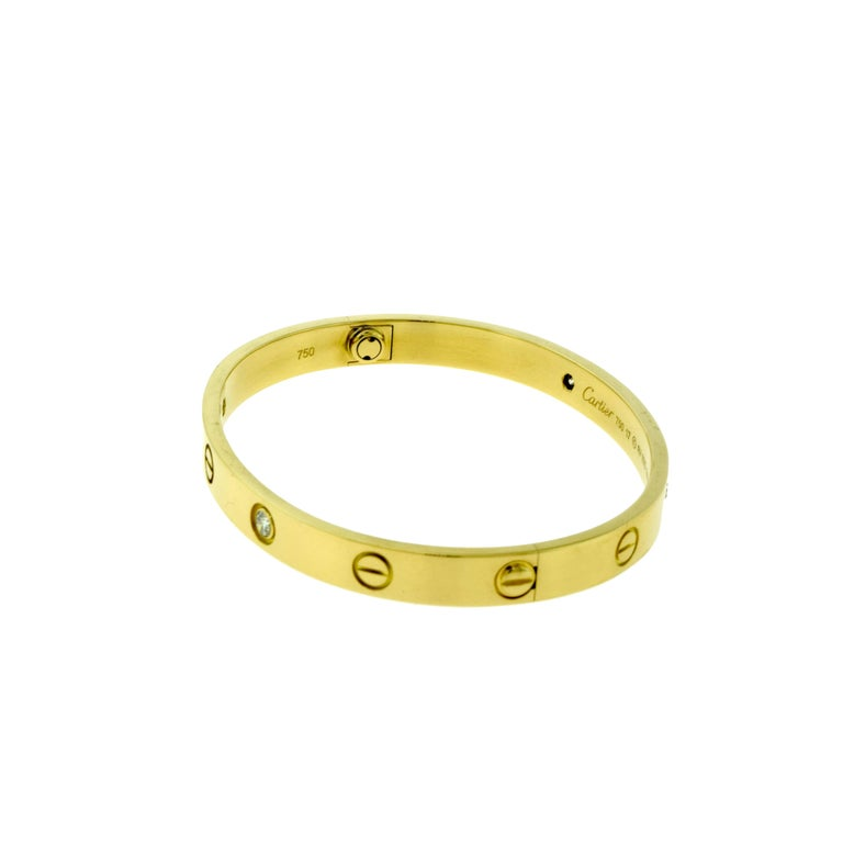 Cartier Love Bracelet in 18 Karat Yellow Gold, Four Diamonds 4
