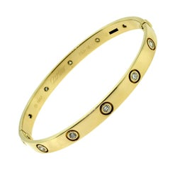 Cartier Love Bracelet, Ten Diamonds in 18 Karat Yellow Gold