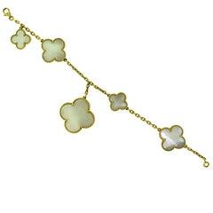 Van Cleef & Arpels Mother-of-Pearl Magic Alhambra Bracelet 18 Karat Yellow Gold
