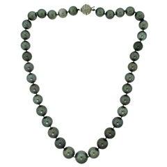 Van Cleef & Arpels Tahitian Pearl and Diamond Necklace in 18 Karat White Gold