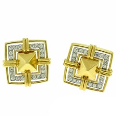 Cartier 18 Karat Yellow Gold Square Pyramid Diamond Earrings