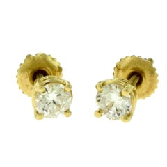 Small Yellow Gold Diamond Single Solitaire Studs