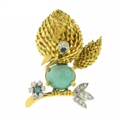 Small Happy Bird Brooch Pin in 18 Karat Yellow Gold with Turquoise Belly