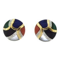 Malachite, Black Onyx, Mother-of-Pearl, Diamonds and Lapis Lazuli Earrings