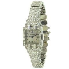 Jaeger-LeCoultre Platinum Diamond-Set Bracelet Wristwatch