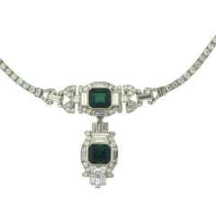 Colombian Emerald and Diamond Art Deco Platinum Necklace, GIA Certified