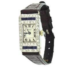 Cartier Art Deco Ladies Rectangle Diamond Sapphire European Movement Watch