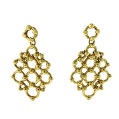 Tiffany & Co. Yellow Gold Honeycomb Pattern Drop Dangle Earrings
