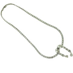 Round, Pear, & Baguette Shaped Diamond Platinum Snake Style Drop Necklace 20 TCW