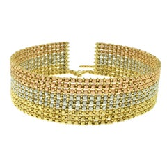 Rose, Yellow and White Gold Wide Beaded Choker Collar