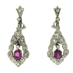 1920s Art Deco Ruby and Diamond Dangle Drop Earrings