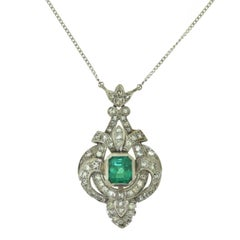 Art Deco Diamond and Marquise Shaped Emerald Necklace
