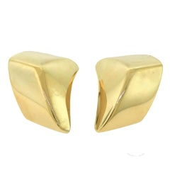"Vhernier ""Plateau Grande"" Style Rose Gold Large Statement Clip-On Earrings"