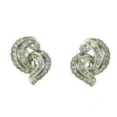 MBV Signed Round and Baguette Diamond Swirl Cocktail Earrings, 1940s