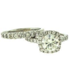 Square Halo Diamond Bridal Two-Piece Ring Set with GIA Certificate