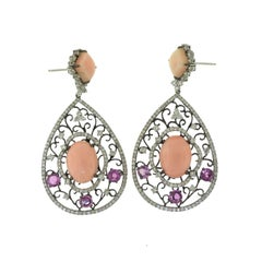 Large Natural Pink Coral Sapphire Diamond Filigree White Gold Dangle Earrings