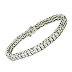 Two Row Brilliant Diamond Line Tennis Bracelet in 18k White Gold 13 Total Carats