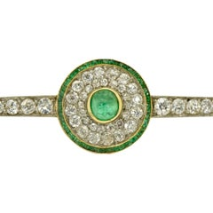 Antique Cartier 5 Carat Diamond and Colombian Emerald Brooch