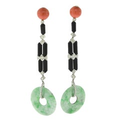 Natural Red Coral, Diamond, Black Onyx, and Jade Disc White Gold Dangle Earrings