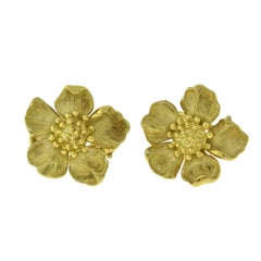 Tiffany & Co. Estate 18 Karat Yellow Gold Dogwood Flower Clips