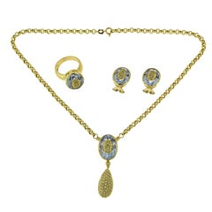 Aquamarine and Diamond Yellow Gold Three-Piece Earring, Necklace and Ring Set