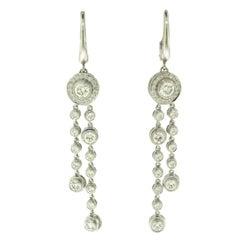 Tiffany & Co. Circlet Double Drop Diamond Earrings in Platinum