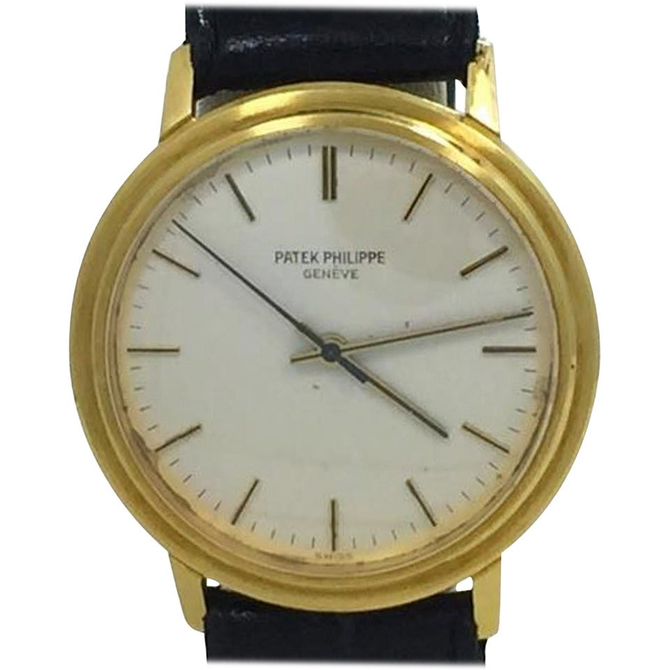 vintage mens patek philippe automatic backwind 18k yellow