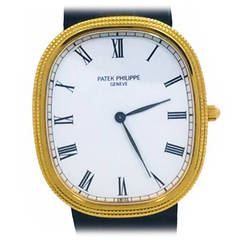 Patek Philippe Yellow Gold Jumbo Ellipse Hobnail Bezel Automatic Wristwatch