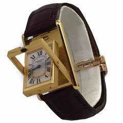 Cartier Yellow Gold Limited Edition Tank Basculante Reverso Wristwatch