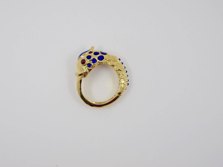 and co ruby gold hinged fish ring at 1stdibs