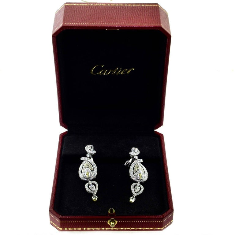 cartier white and yellow diamond drop earrings in platinum