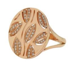 Bulgari Bvlgari Enigma Rose Gold Diamond Leaf Round Top Ring