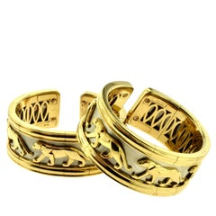 Cartier White and Yellow Gold Walking Panther Two-Piece Large Wide Cuff Set