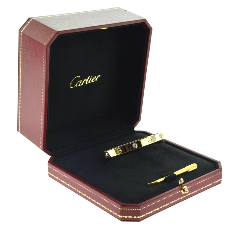 Cartier Love Bracelet in 18 Karat Yellow Gold, Four Diamonds 2
