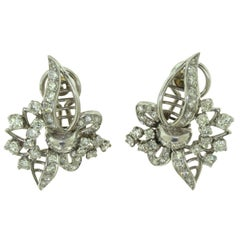 EAC signed Antique Round Diamond Floral Leaf Pattern Statement Earrings, 2.4 TCW