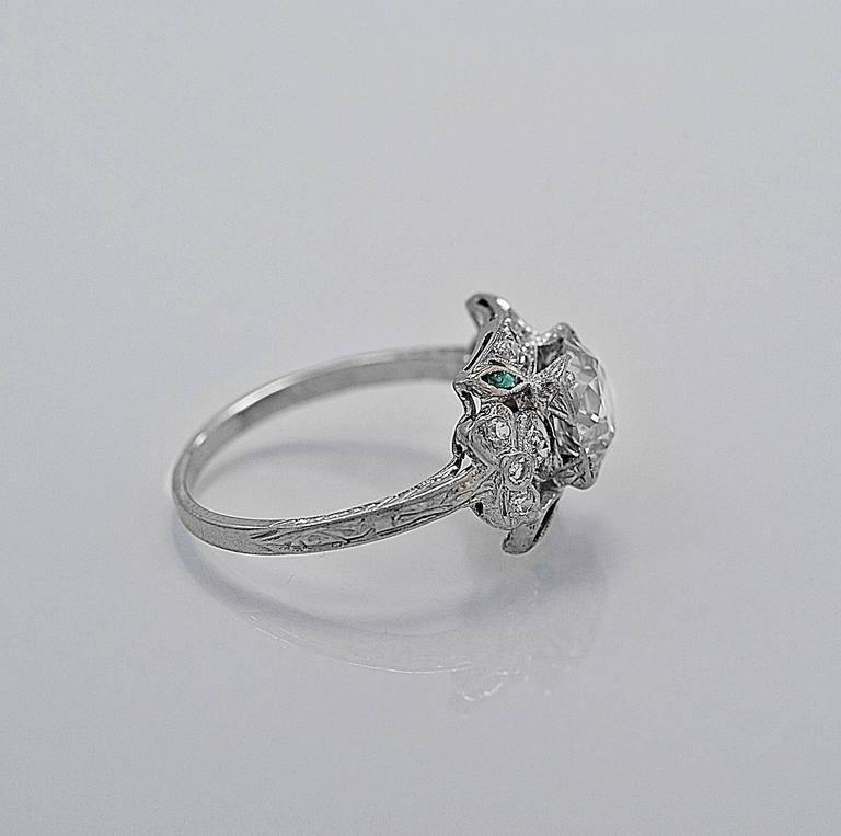 antique 1 45 carat emerald platinum engagement