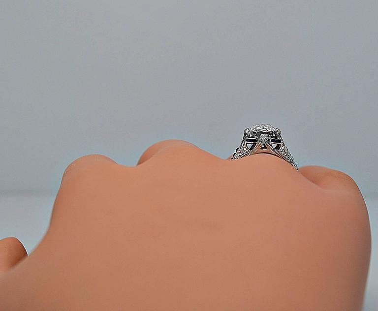 Sapphire 1.54 Carat Diamond Platinum Engagement Ring 7