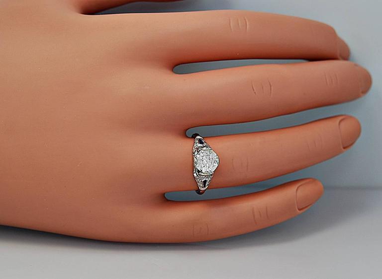 Sapphire 1.54 Carat Diamond Platinum Engagement Ring 5