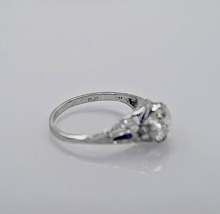 Sapphire 1.54 Carat Diamond Platinum Engagement Ring In Excellent Condition For Sale In Tampa, FL