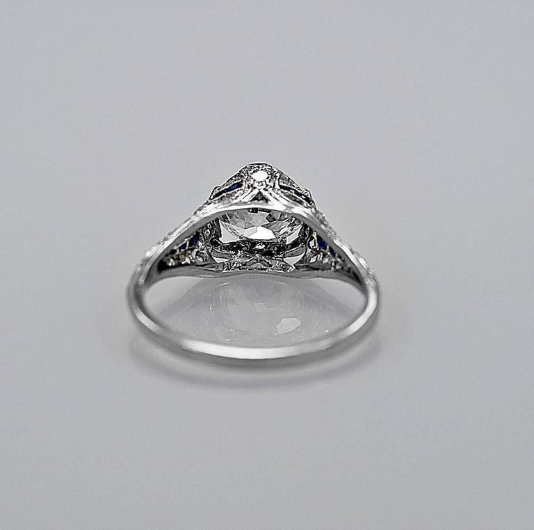 Sapphire 1.54 Carat Diamond Platinum Engagement Ring 3