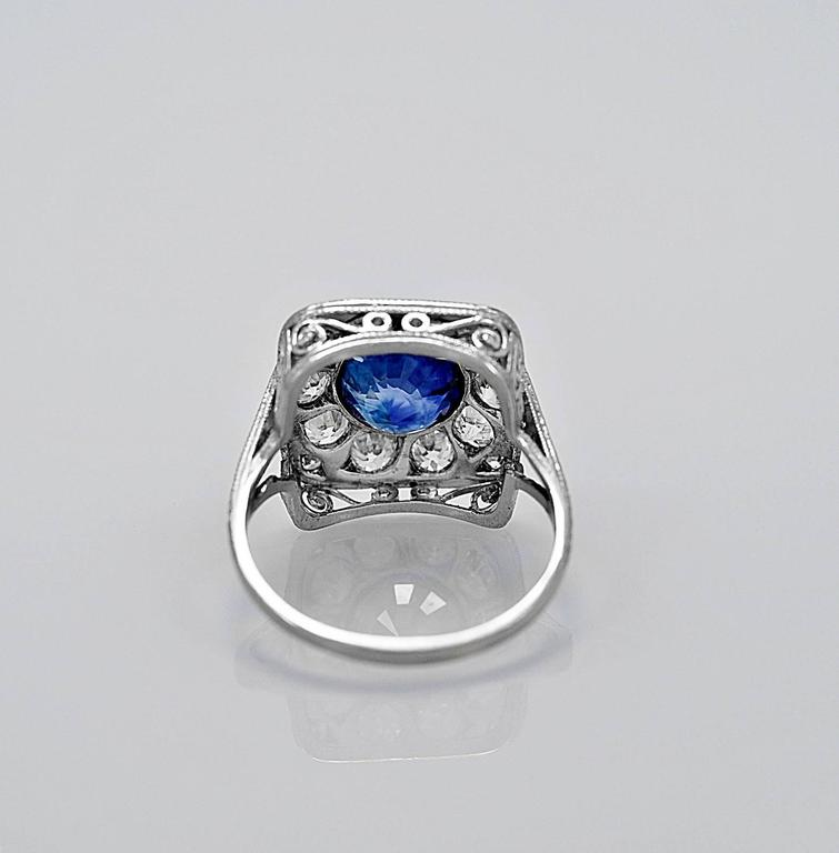 Antique 2.50 Carat Natural Sapphire Diamond Platinum Engagement Ring 3