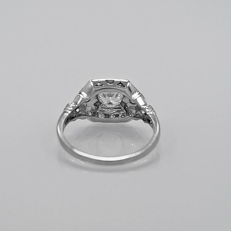 Old European Cut Antique Art Deco Diamond Platinum Engagement Ring For Sale