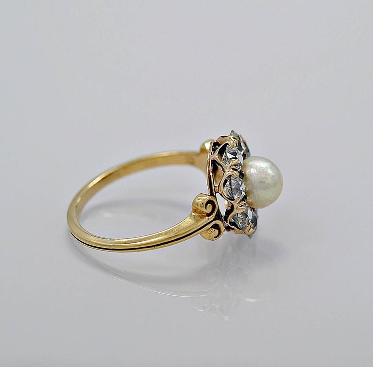 Antique GIA Cert Natural Pearl 1 25 Carats Diamonds Gold Engagement Ring at 1