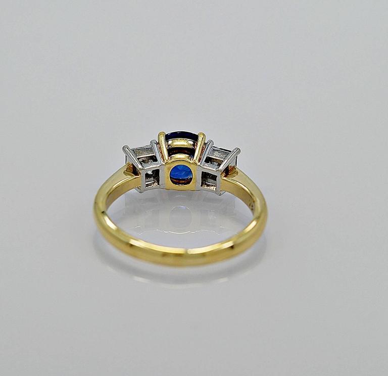 Modern Tiffany & Co. 1.05 Carat Sapphire Diamond Gold Platinum Engagement Ring  For Sale
